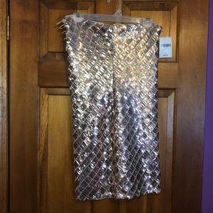 Gold strapless shimmer dress